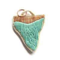 Shark week tooth pendant embroidered French vintage copper metal thread mint green neon hot pink OR white modern jewelry
