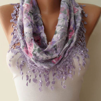 Lilac Scarf with Same Color Trim Edge - Flowered Fabric