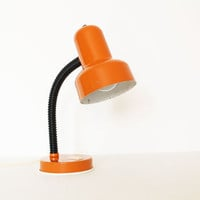 Vintage orange and black gooseneck table lamp