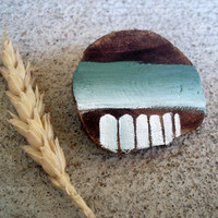 Abstract Ombre Pin / Wooden Tribal Brooch / Teal to White