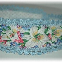 Headband with Ties, Blue Lily Print