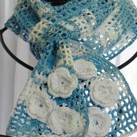 Scarf, Skinny, Crochet, Cotton, Blue and White Cotton