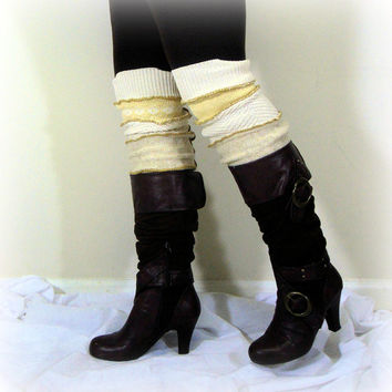 Womens Leg Warmers, Upcycled Leg Warmers, Sweater Leggings, Boot Toppers,  Leg Warmers, 100% Handmade Altered Clothing by Pandora's Passions