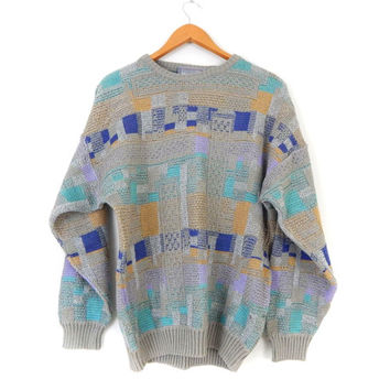 Vintage 80s Baggy Italian Crewneck Pullover Sweater - Oversize Colorblock Hipster Cosby Jumper - Gray Turquoise Lavender -Size Large
