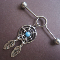 Industrial Piercing Barbell Dream Catcher Charm Dangle Turquoise Dreamcatcher 14 Gauge Bar