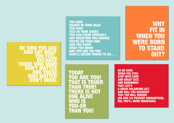 "Dr. Seuss Quotes - Set of five prints for modern nursery or playroom - 8""x10"""