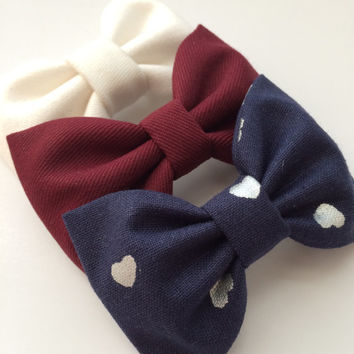 Winter white, burgundy, and navy silver heart Seaside Sparrow hair bows. Hair bow gift hair clip girl gift for her hair accessory girl bow