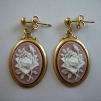 Lilac Rose Cameo on Raw Brass Settings Gold Tone Post Earrings 18x13mm