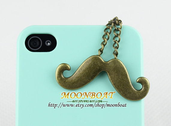 3.5mm Retro Brass Mustache Dust For iphone 4s,iPhone 4,iPhone 3gs,iPod Touch 4,HTC,Nokai,Samsung,Sony MB694