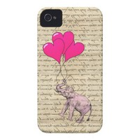 Vintage pink elephant & balloons iphone 4 case-mate case from Zazzle.com