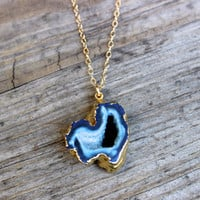 Blue Agate Druzy Pendant Necklace on 14k Gold Filled Chain Blue Agate Gemstone Charm Necklace