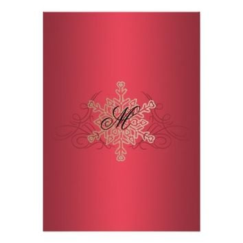 Red and Gold Snowflake Party Invitation