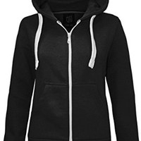 NEW LADIES WOMENS PLAIN HOODIE HOODED ZIP TOP ZIPPER SWEATSHIRT JACKET COAT