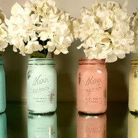 FALL WEDDING and Home Decor Sale - GLAM Wedding - Silver Inside, Bright Colors Outside - Centerpieces Wide Mouth Shabby Chic Mason Jar Vases