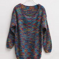 Blue  Colorful Sweet Round Collar Sweater $45.00