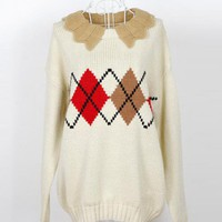 Vintage Wave Lapel Diamond Pattern Sweater White$42.00