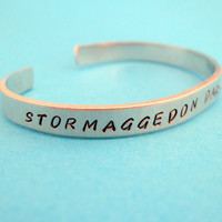 Doctor Who Inspired Bracelet - Stormaggedon Dark Lord of All - Hand Stamped Aluminum Cuff - customizable