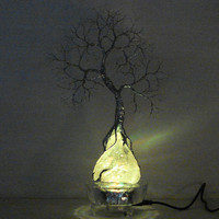 Wire Tree Of Life Moonlight Silver Spirit sculpture on natural Brazil Clear Quartz Crystal cluster 7 LED  Lamp, original art  LP16