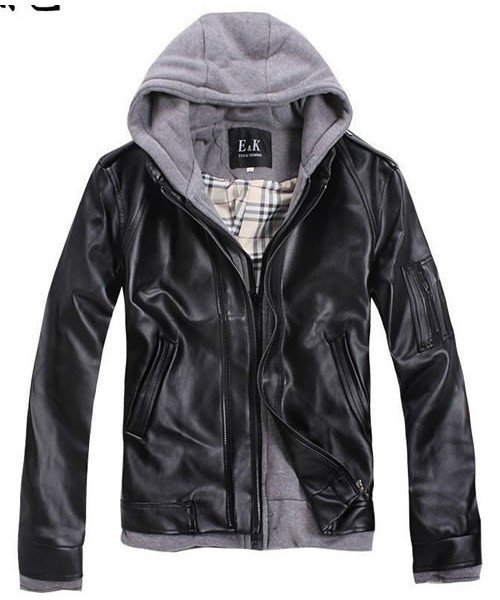 Mens Thicken Multi-Zipper Detachable Hat Slim Black Pu-Leanther Jacket S/M/L/XL