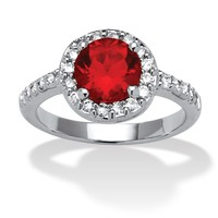 Simulated Round Birthstone and .55 TCW Cubic Zirconia Ring in Sterling Silver