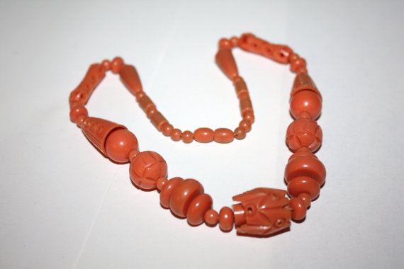 Art Deco Necklace Carved Coral Celluloid Bead 1920s Jewelry
