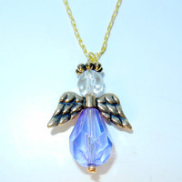 Light Purple Angel Charm Necklace