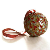 Red, Gold, Silver Mosaic Christmas Ornament