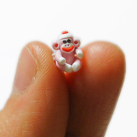 Quarter Inch TINY sock monkey baby Made to Order in Polymer Clay