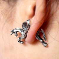 Punk Style Cool Fly Horse Stud Earrings wholesale