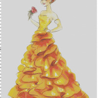 Disney Designer Princess Doll Belle (Beauty and the Beast) Cross Stitch Pattern PDF (Pattern Only)
