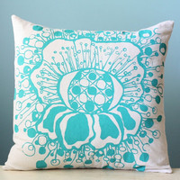 Polka Dot Flower Linen Pillow Cover Floral Decorative Cushion Throw 18x18 Turquoise Teal Hand-Painted Printed Silk Screen Pillow Art