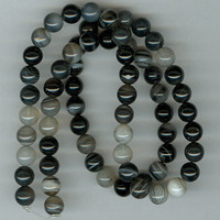 6mm Black Lace Agate Beads - Full Strand