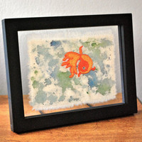 Framed Goldfish Emroidery #embroidery #fish