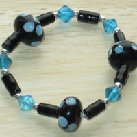 Beaded, Stretch Bracelet in Turquoise and Black