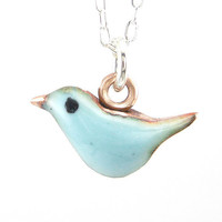 Fat Little Blue Bird Necklace