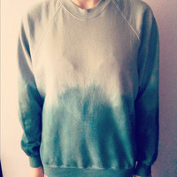 X-Large Grey &amp; Teal dip dyed sweatshirt