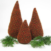 Textured wool Christmas trees Eco friendly decor Orange brown rust wool Woodlands Xmas Holiday decoration
