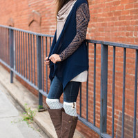 All About Aztec Cardigan, Navy