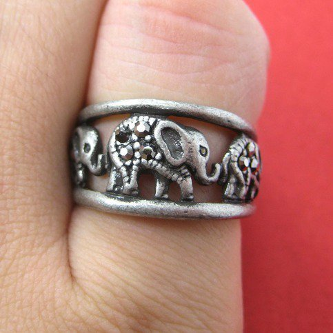 Elephant Animal Ring in Silver - Sizes 6 to 8 Available by Dotoly