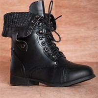 Bring the Battle Sweater Cuff Fold Down Lace Up Combat Boots BEYONCE-11 - Black