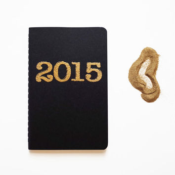 Gold 2015 diary, pocket moleskine, journal letterpress type font