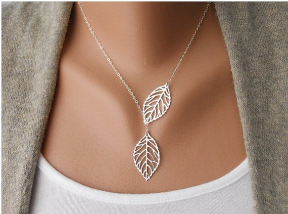 Fashion Adjustable Silver Leaves branches Clavicle Necklace Vintage Antique Silver Necklace B45-s