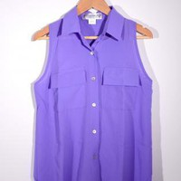 100% Silk Sleeveless Shirt in Pink/Purple
