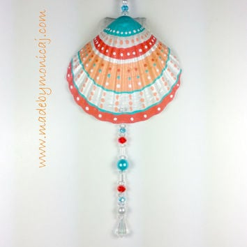 Painted Scallop Seashell Wall Hanging.  Coral, Peach, and Aqua Painted Seashell.  Coastal Cottage Chic.