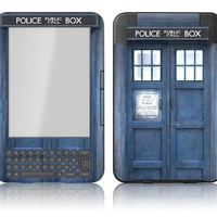 Amazon Kindle 3 / Keyboard Skin Cover - Doctor Who Tardis Police Box