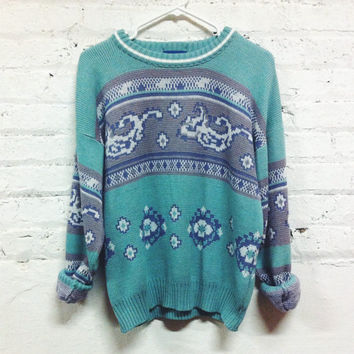 Retro Mint Oriental Sweater