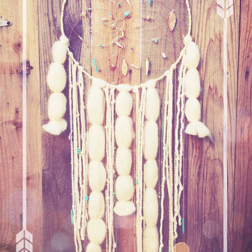 Big Sun & Moon Hand Beaded Cream, Amethyst, Turquoise, and Gold Wool Roving Gypsy Boho Hippie Native Dreamcatcher