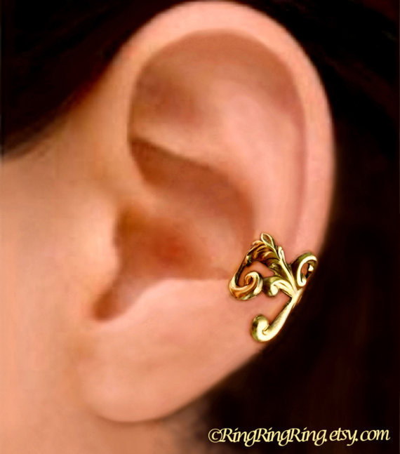 Empire ear cuff gold brass -  Left earcuff earring for men and women 081212