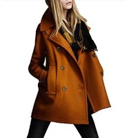 Womens Winter Wool Coat Long Woolen Double-breasted Trench Coat