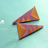 Brass and Lilac Suede Geometric Dagger Earrings